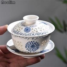 Blue and white porcelain Teacups Ceramic Hollow Gaiwan Tea Cup Chinese Kong Fu Tea Set