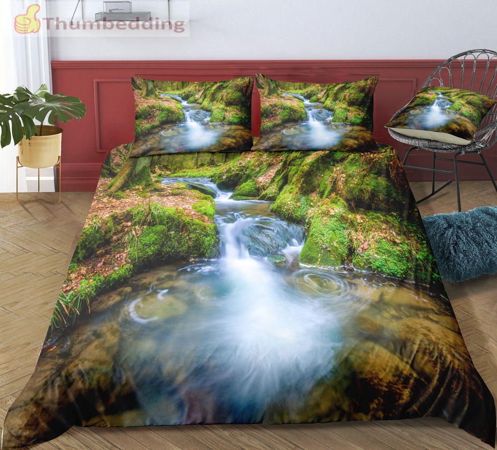 Thumbedding Dropship Waterfall Stream Bedding Sets King Plant Print 3D Duvet Cover Set High Quality Designed Bedclothes