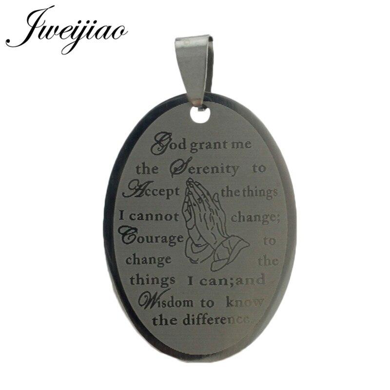 JWEIJIAO Dios Me la oración de la serenidad de acero inoxidable ID etiqueta colgante para llavero, collar de la Biblia de inspiración de PT13