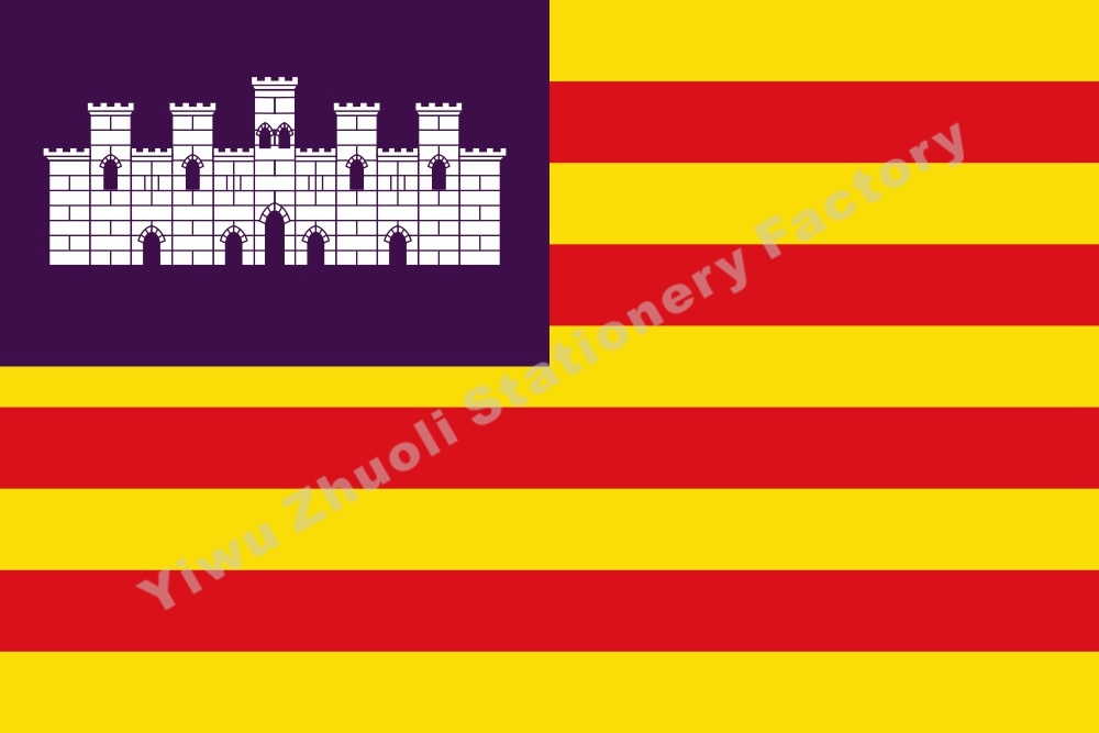 Spain of the Balearic Islands of flag 150X90cm (3x5FT) 120g 100D Office/Activity/parade/Festival/world cup/Home Decoration