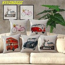 KYYZROZZZ nouvelle arrivée rétro Bus housse de coussin décoratif canapé jeter oreiller voiture chaise taie doreiller décoration de maison almofadas