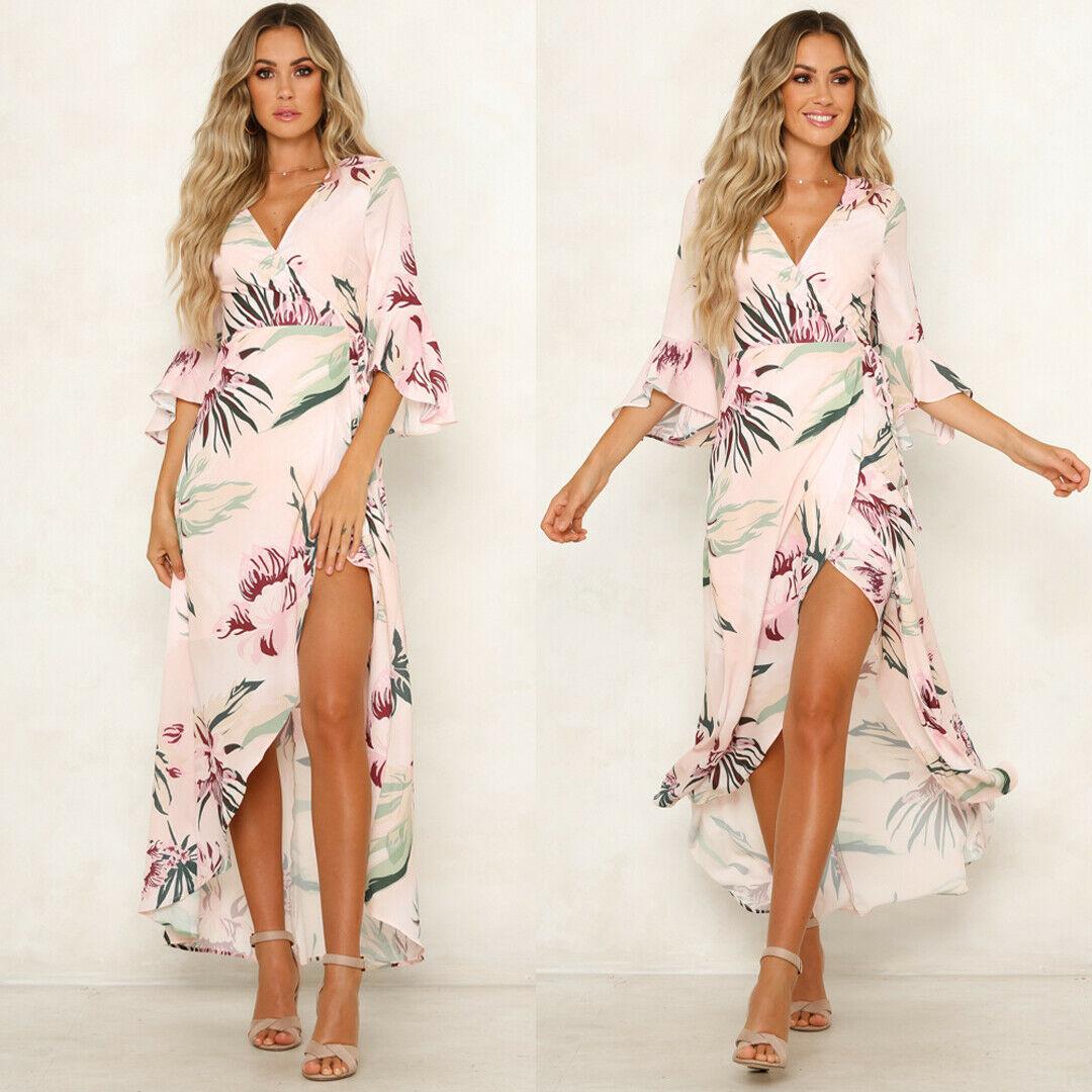 2019 moda mujer Boho largo Maxi vestido de fiesta de noche verano playa Sundress HOT S-XL