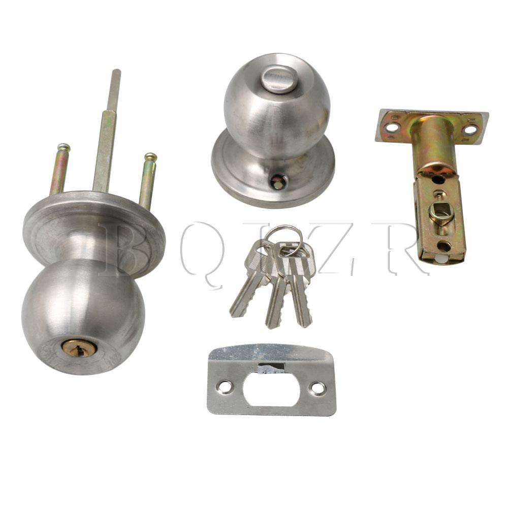 Bqlzr bola redonda de aço inoxidável botões da porta alças passagem entrada bloqueio trava conjunto