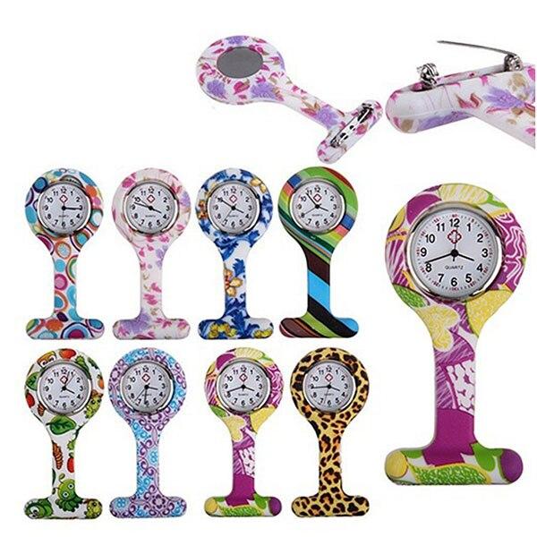Reloj de silicona de moda de silicona para enfermeras, broche de túnica, bolsillo, reloj de esfera inoxidable, relojes LXH
