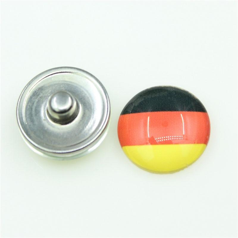 Bandera de Alemania, 20 unids/lote, botones a presión, apto para pulsera con botón a presión de 18mm, brazaletes y letras DIY, abalorios de joyería a presión