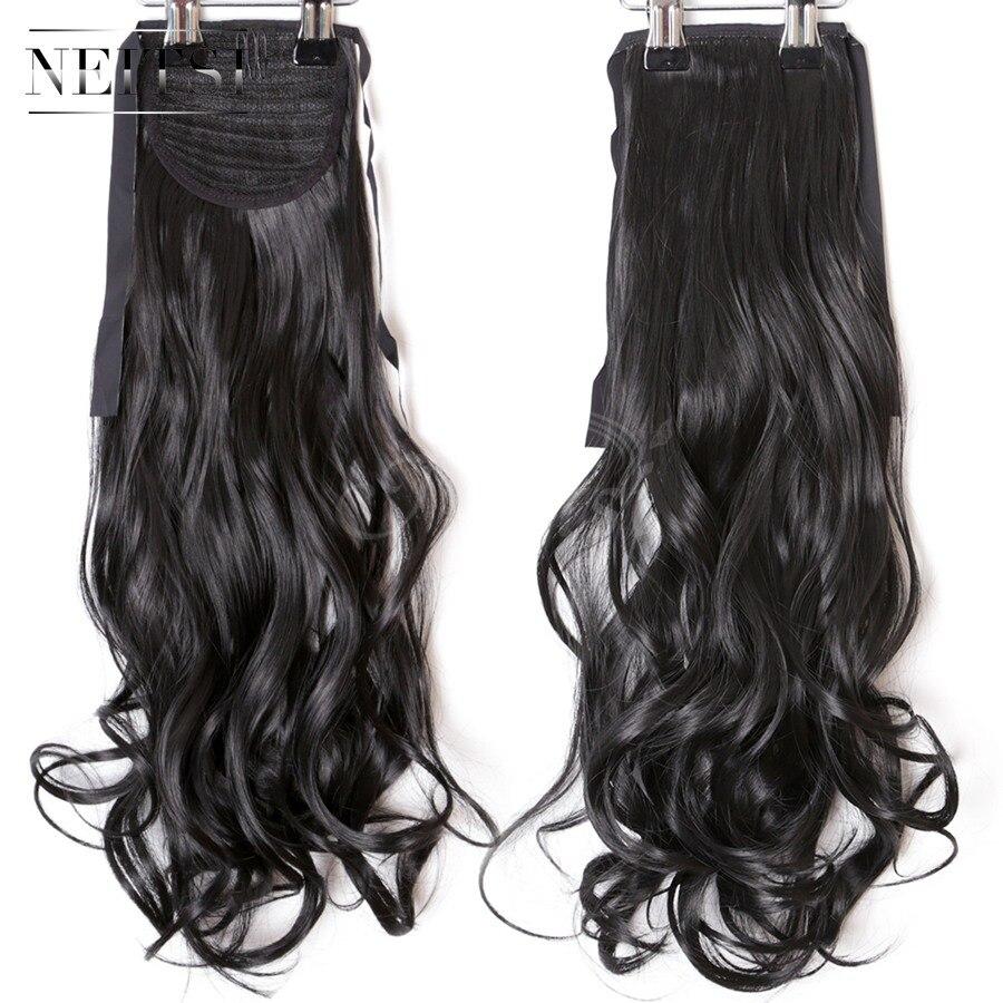 Neitsi Kıvırcık Uzun Saç Kuyruk Yanlış Saç At Kuyruğu Postiş Ile Tokalar Sentetik Saç 1 #