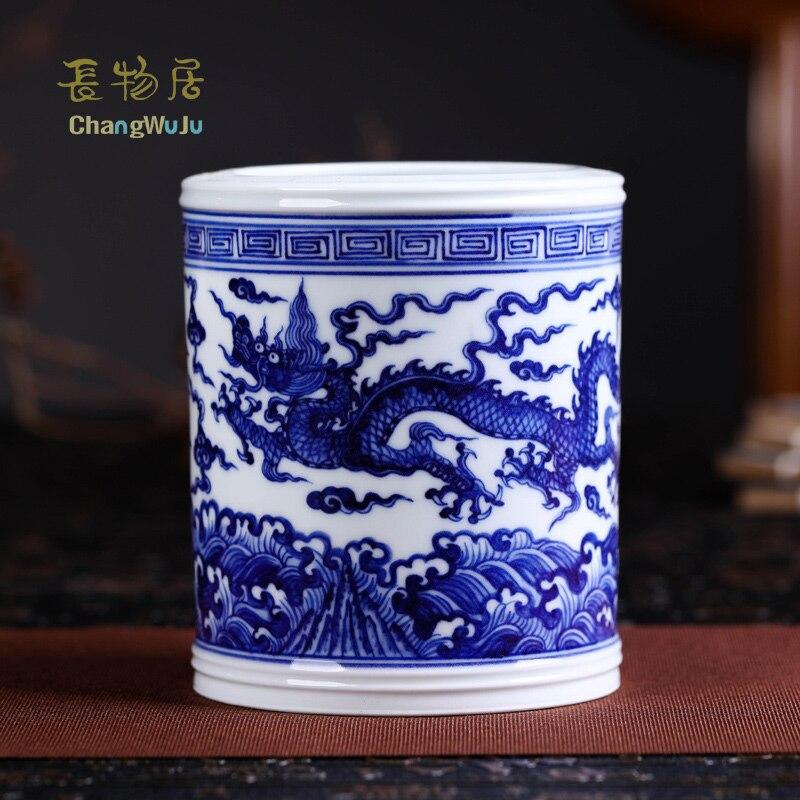 Changwuju-لوازم التخزين المكتبية في جينغدتشن ، وعاء فرشاة بورسلين أزرق وأبيض مصنوع يدويًا مطلي بواسطة Jinhongxia