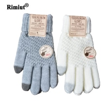 Rimiut Women's Cashmere Knitted Winter Gloves Cashmere Knitted Women Autumn Winter Warm Thick Gloves