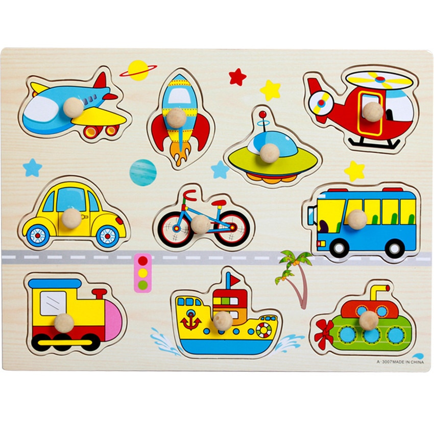 Montessori Wooden Puzzles Handle Boards Toys Tangram Baby Educational Toys Jigsaw 3D Puzzles Cartoon