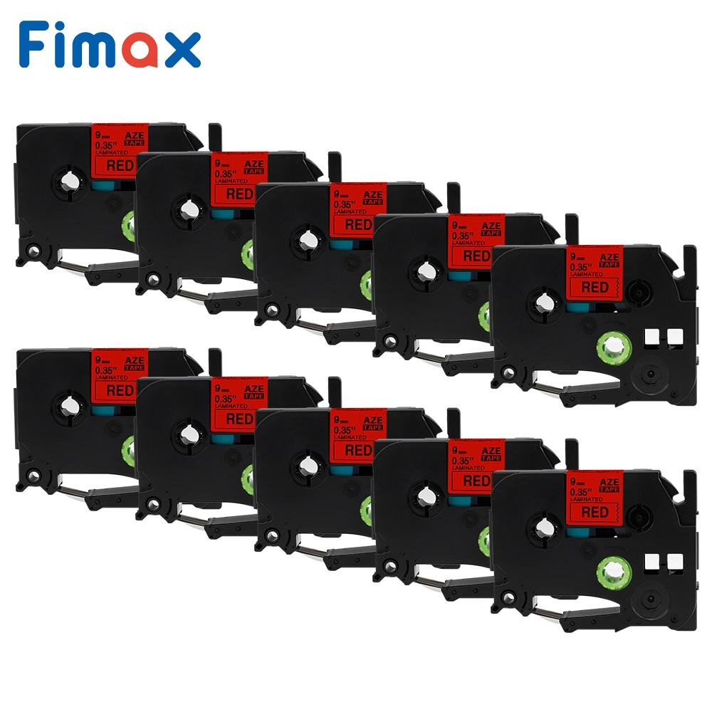 Fimax 10 paquetes TZe421 Compatible con Brother p-touch cinta TZe-421 TZ-421 9mm * 8m negro sobre rojo para Brother p-touch Tze etiqueta