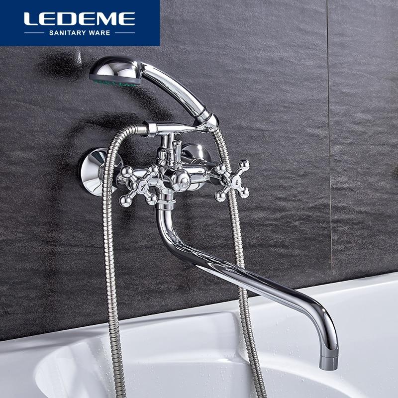 LEDEME-حنفية حمام على الطراز الحديث ، حنفية خلاط مثبتة على الحائط مع رافعة ، L2619