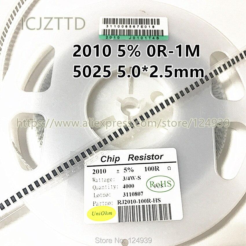 100 PCS 2010 5% 5025 5.0*2.5 milímetros 3/4 W 300R 330R 360R 390R 430R 470R 510R 560R 620R 680R 750R 820R 910R 1K2 1K1 1K0 1 K 1.1 K 1.2 K
