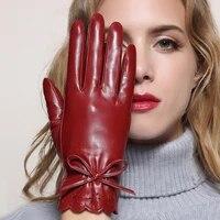 leather gloves female sheepskin gloves lady genuine leather mittens womens winter thicken warm short style mlz011