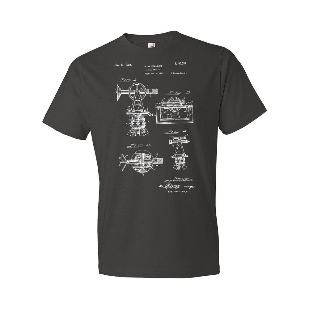 Verano 2019 manga corta de talla grande Surveyors Solar Compass camiseta ingeniero ingeniería Civil regalo patente Vintage Clase de moda