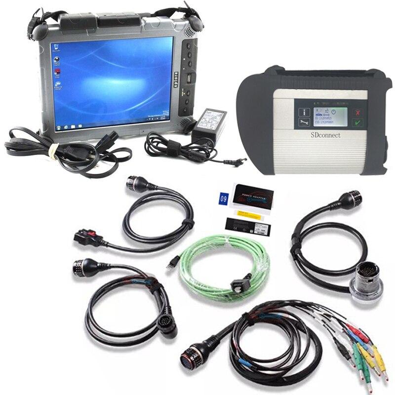 Mb-stern c4 diagnose werkzeug für mb autos und lkw mit C4 software 2020,06 v ssd mit laptop tablet xplore ix104 i7 4g robuste pc