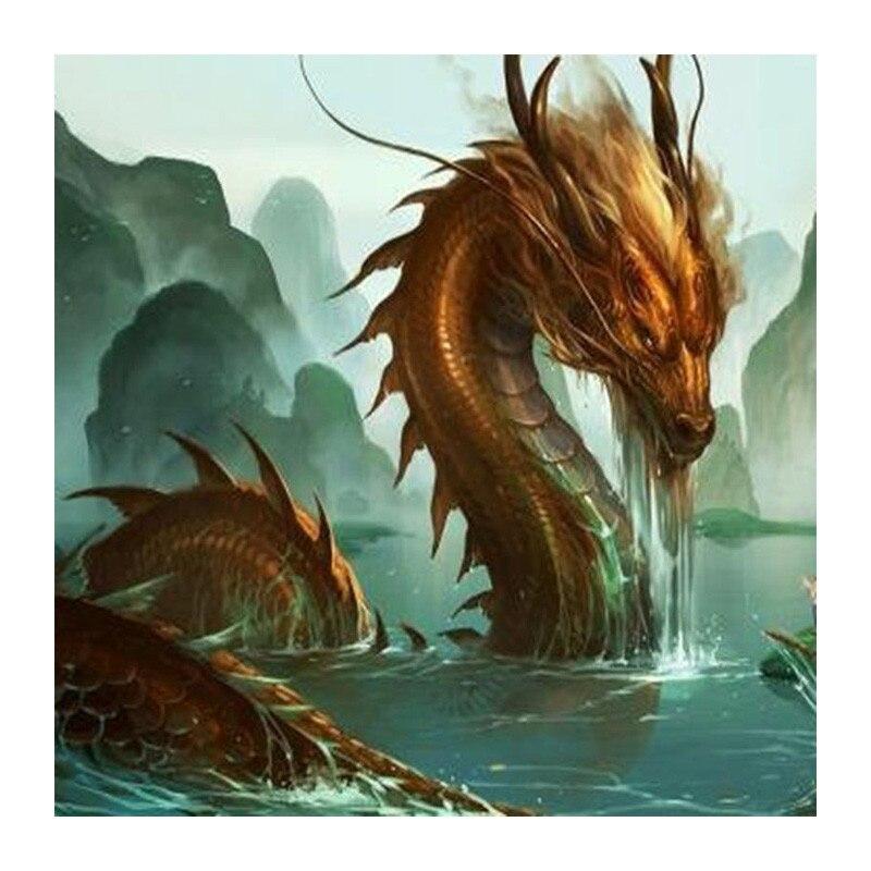 Алмазная Вышивка Сделай Сам Алмазная роспись дракона в озере Алмазная мозаика полный горный хрусталь Вышивка крестом Животные украшения