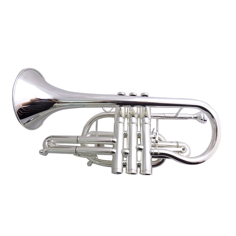 Bb Brass Cornet Silver plated Bell 119mm with Case Musical Instruments trumpet enlarge