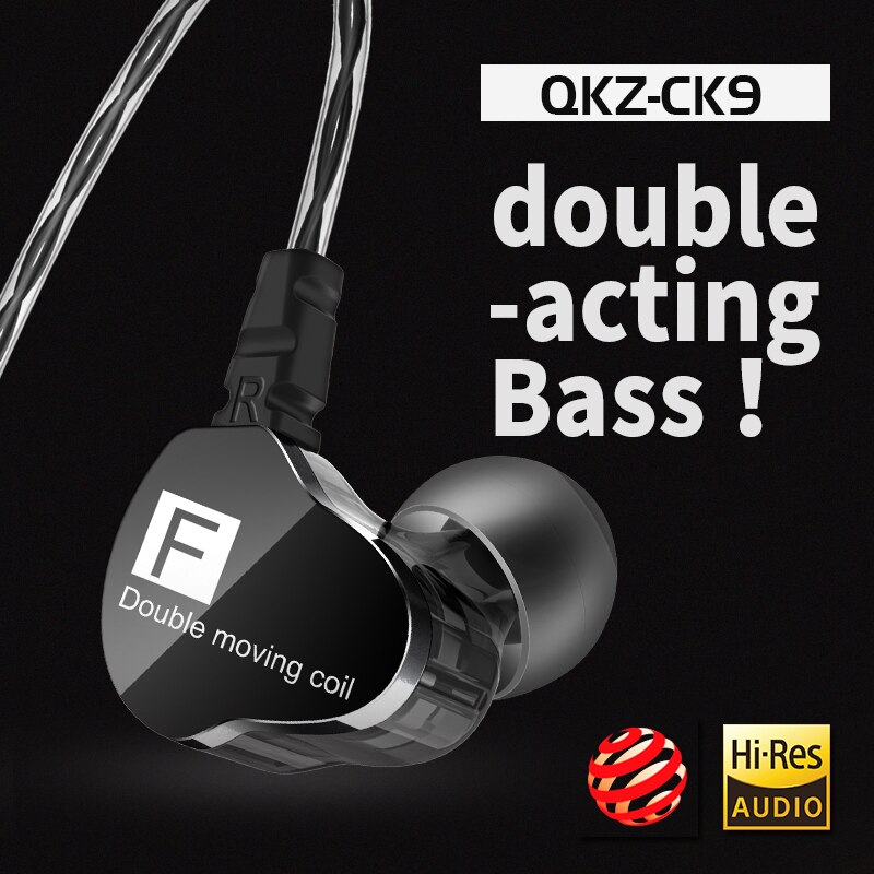 Newest QKZ CK9 Double Unit Drive In Ear Earphone Bass Subwoofer Earphone HIFI DJ Monito Running Sport Earphone Headset Earbud enlarge