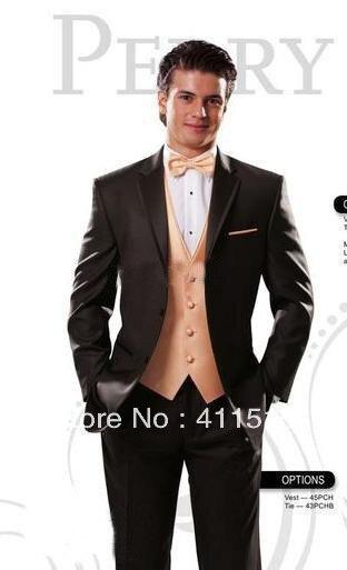 FRee shipping!custom wedding Brown Groom wear Tuxedos/men dress/Best Man Notch Lapel Groomsmen Men Wedding Suits /custom suit