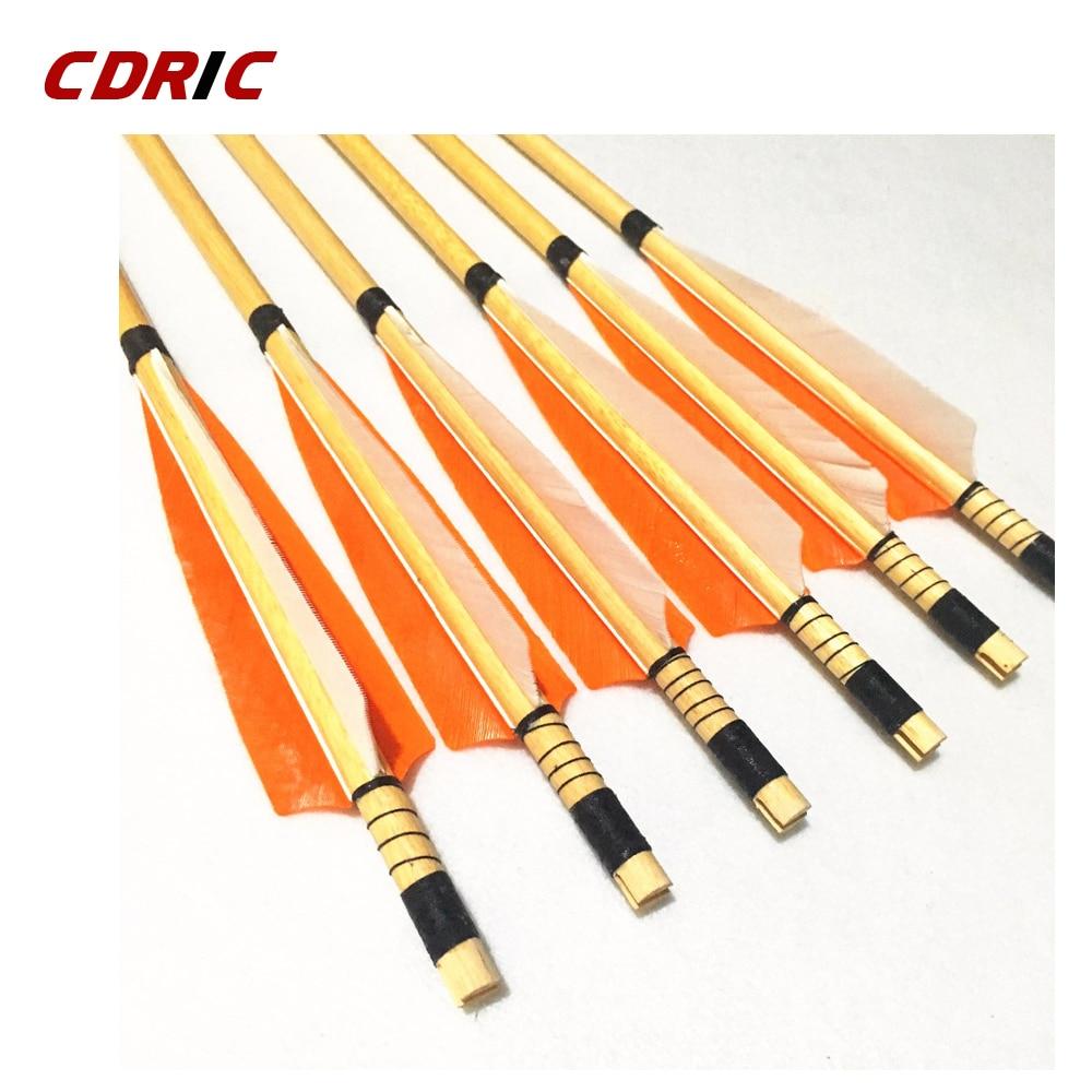 6/12 Uds. Flechas de madera de 32 pulgadas en 5 colores flechas tradicionales hechas a mano para arco recurvo tiro con arco