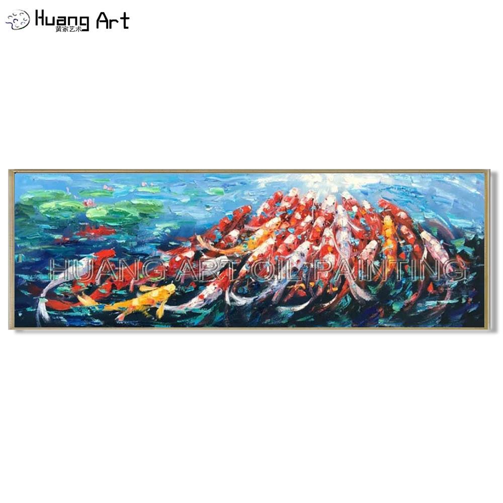 Faca de Alta Peixe na Lagoa de Lótus Centenas de Peixes Pintura a Óleo para Sala de Estar Qualidade Animais Pintura Hand-painted Moderna Decor Art