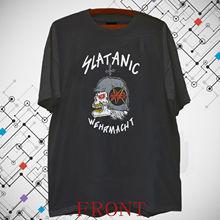 VINTAGE SLAYER SLATANIC WEHRMACHT TOUR camiseta negra para hombres, camisetas de S-3XL, ropa de marca, camiseta divertida, camiseta