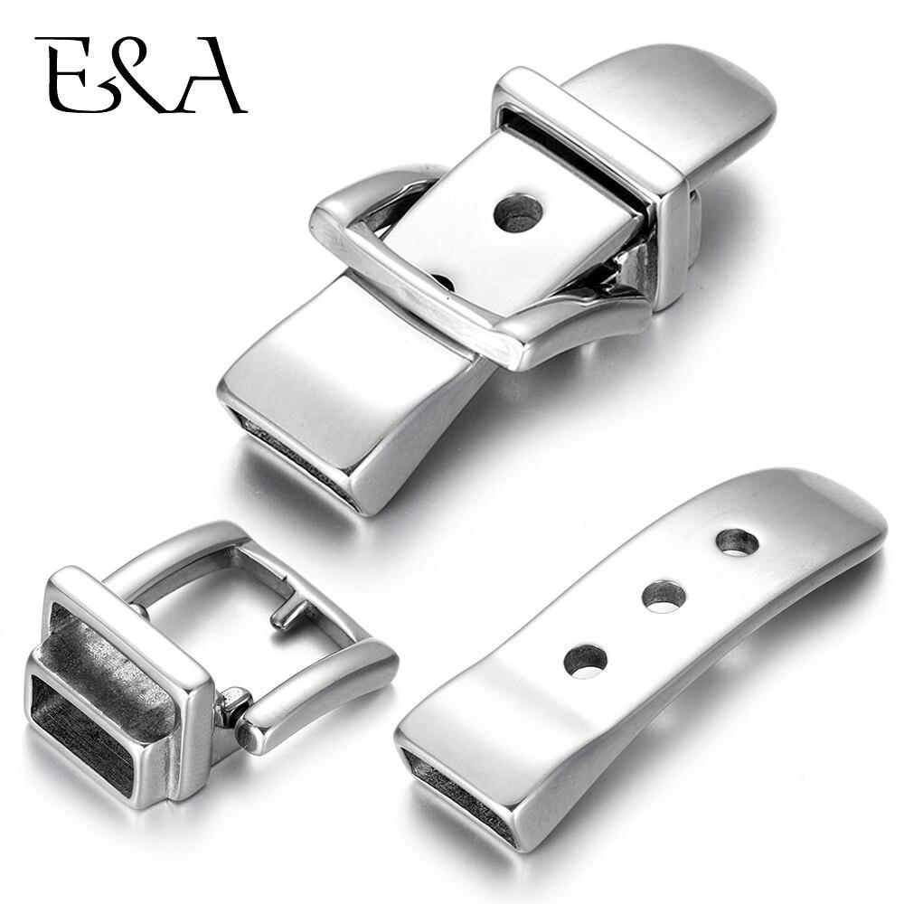 316L de acero inoxidable cierre ajustable pulsera simulado reloj espejo agujero 11*5mm DIY joyería resultados