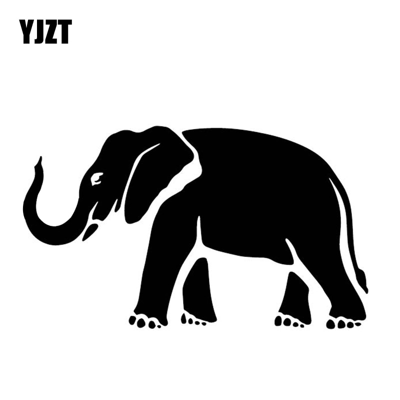 YJZT 16.3CM*9.6CM Elephant Pattern Bumper Decorate Accessories Car Sticker Vinyl Decal Black/Silver