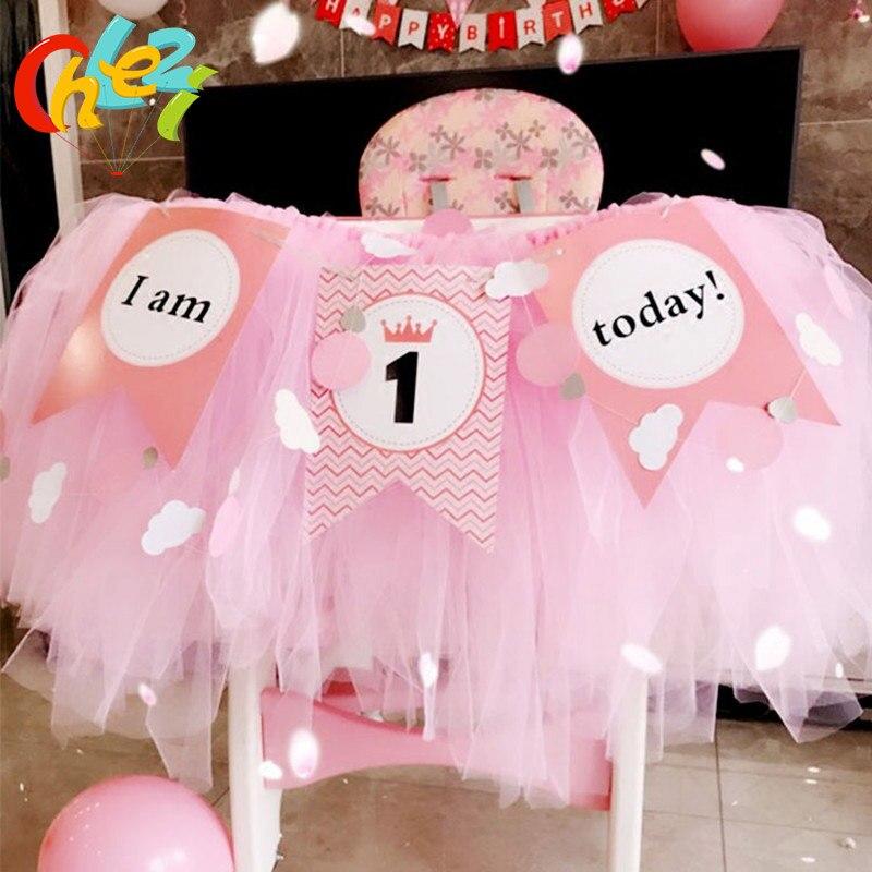 1 Juego de 1 año de banderas de colores para cumpleaños de bebé, tutú de hilo de red, silla de bebé, decoración de fiesta de cumpleaños I am 1 hoy Banner Baby shower