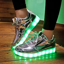 2018 EUR 30-44 zapatillas de deporte para niños brillante moda USB recargable iluminado LED zapatillas luminosas para niños y niñas