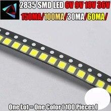 100 pz/lotto 2835 SMD LED 1W bianco caldo bianco 6V 9V 18V 36V 150MA/100MA/30MA/60MA/