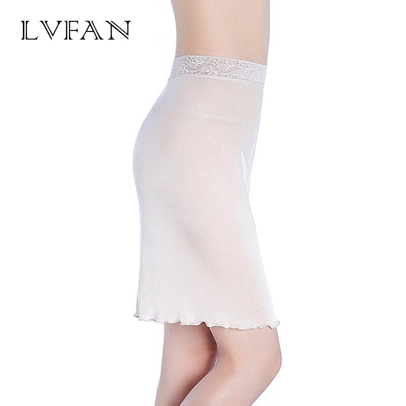 Solid Summer Ladies Skirt Bottoming Silk knit Lace Skirt Silk Anti-Lighting Lining Breathable Skirt Nightdress  LVFAN K019