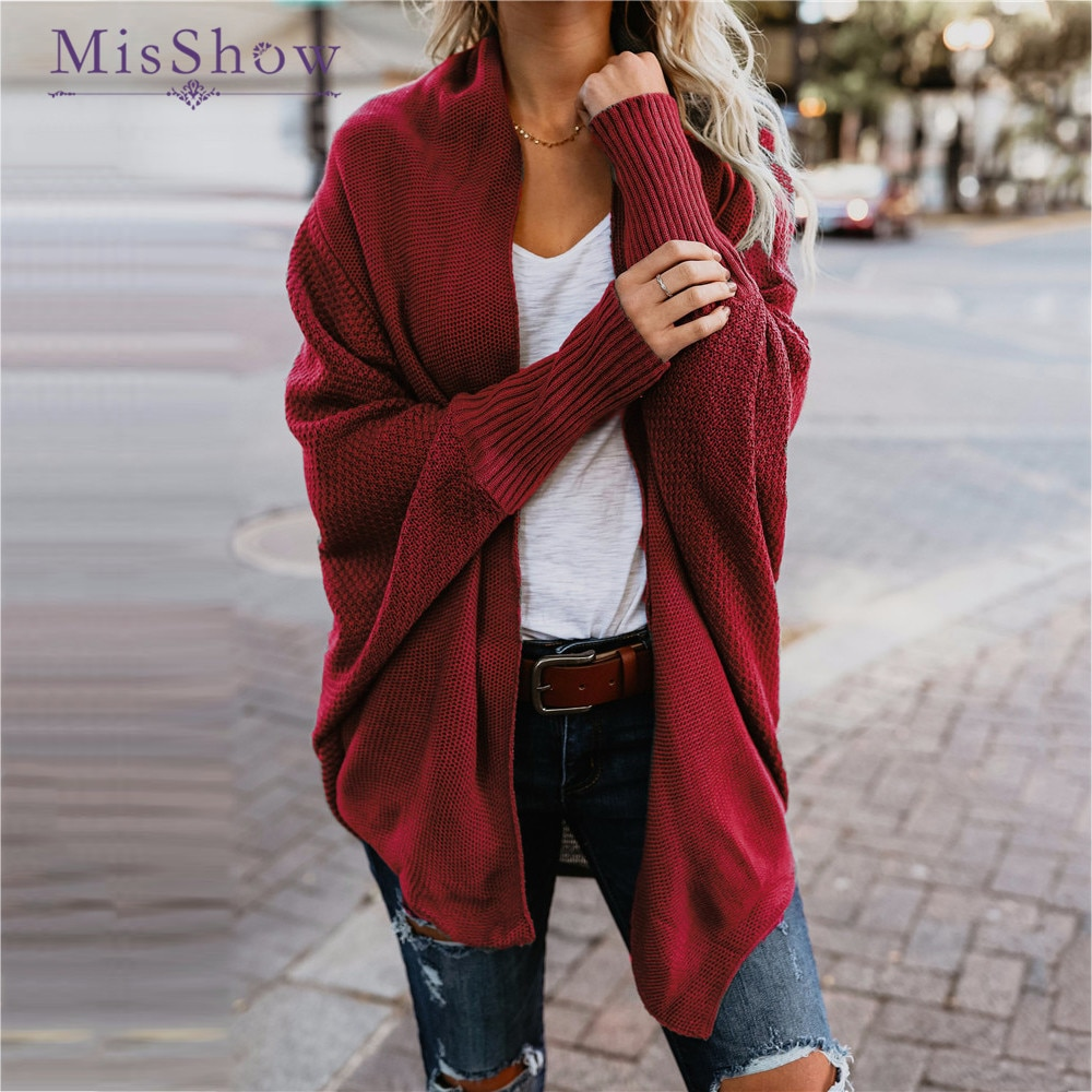 MisShow moda Otoño cárdigan suelto Casual mujeres suéteres 2019 invierno Jersey de punto de manga larga abrigo femenino