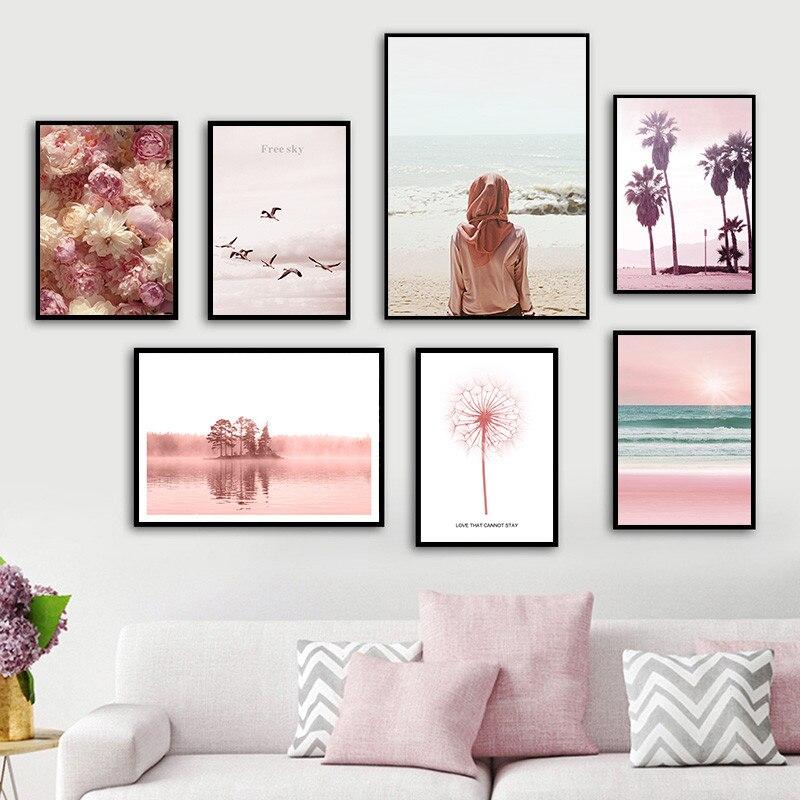 Nordic Flower Bird Sea Landscape Canvas Painting Posters Dandelion Art Prints Wall Pictures For Living Room Home Decor AL135