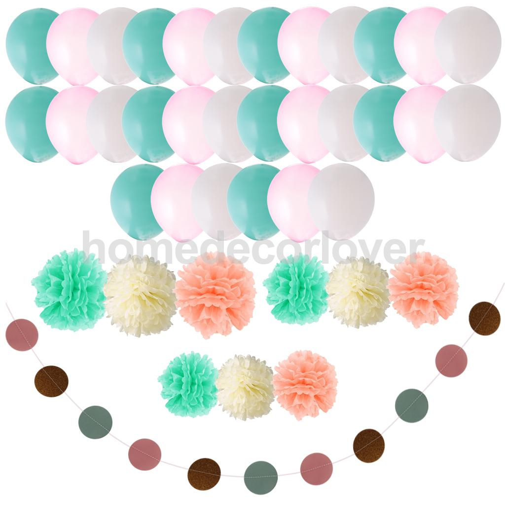 40/set Tissue Paper Flower Pom Poms Latex balloon for Wedding Party Decor