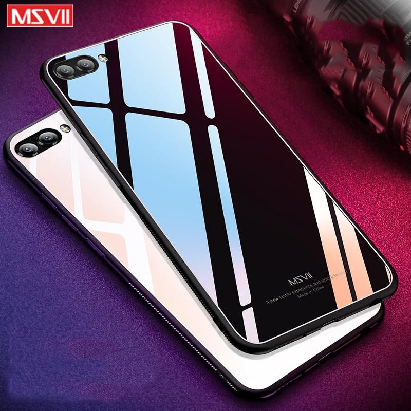 Funda de silicona para Huawei honor 10, funda protectora MSVII para Huawei honor View 10, funda trasera de cristal templado para teléfono V10