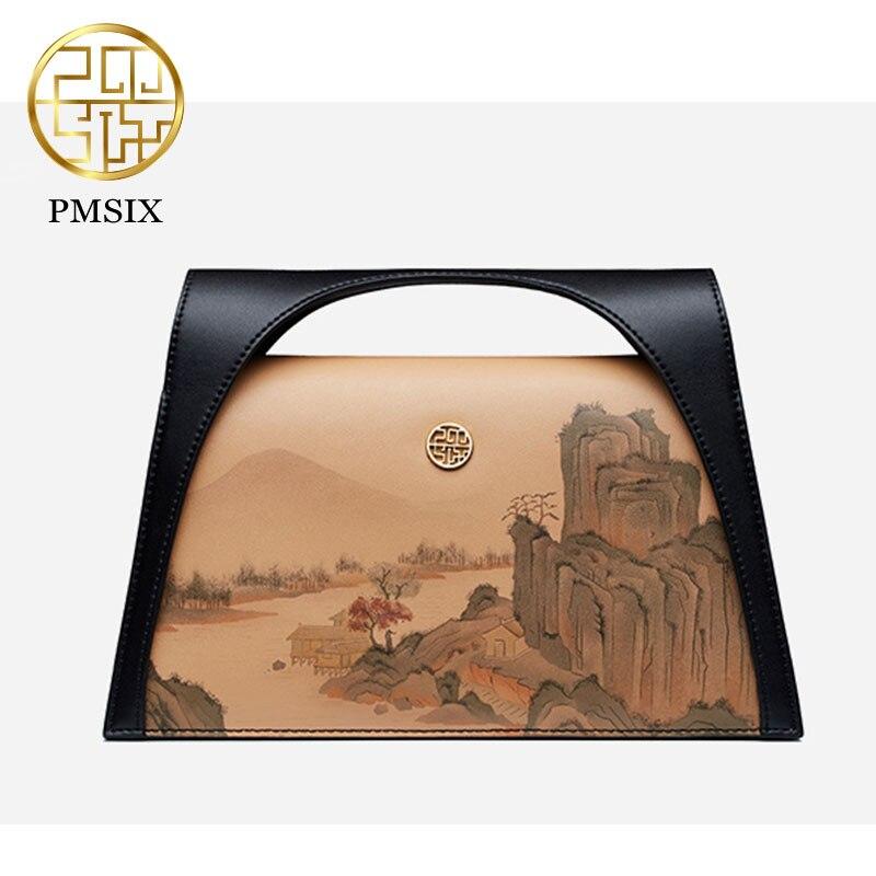 Bolso Pmsix de lujo pintado con paisaje para mujer, bolso de hombro de piel de vaca de diseño Original, Mini bolsos elegantes, regalo exquisito