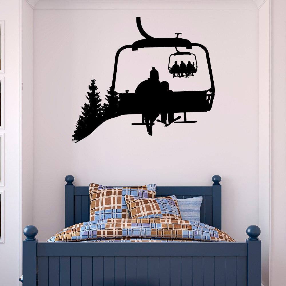 Ski Lift Wall Decal Skiers Snowboard Winter Sport- Ski Lift Chair Wall Stickers- Skiing Sports Bedroom Kids Mountain Mural A099