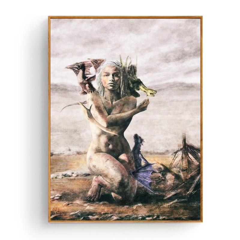 Juego de tronos Daenerys Targaryen arte seda póster de tela e impresión pared arte pintura decoración del hogar