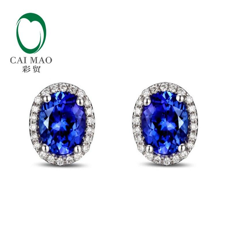 14k White Gold 2.71ct  Violetish Blue Tanzanite & Natural Diamond Engagement Earrings Stud