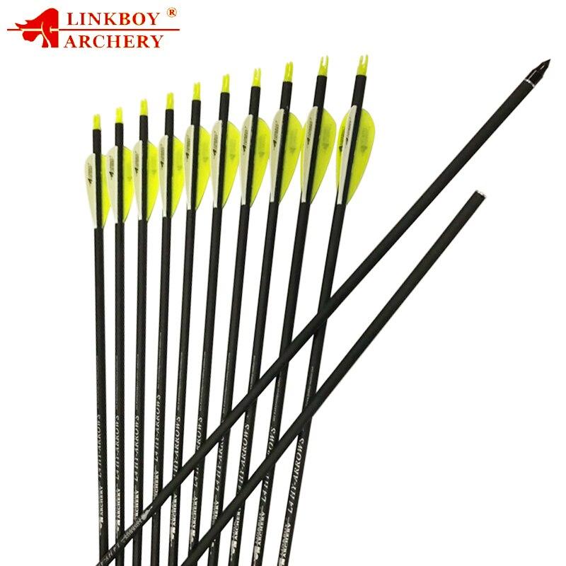 Linkboy tiro com arco Flechas de Carbono Mix 30 polegada Sp500 ID6.2mm 2.8 polegada de plástico palhetas 90gr dicas Composto Arco Recurvo Arco de Caça