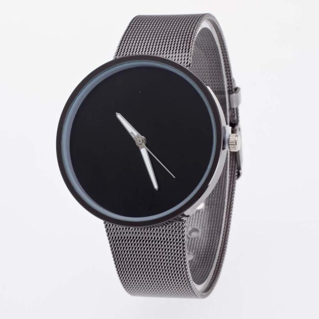 Venta al por mayor, correa de malla de Metal negro de hierro, reloj de pulsera de cuarzo simple a la moda, reloj de pulsera para hombre y mujer, reloj Unisex para mujer