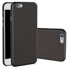 Carcasa de teléfono de alta calidad de fibra de carbono PP hule, carcasa de color negro, pegatina no plástica para iPhone 6 6s 7 Plus