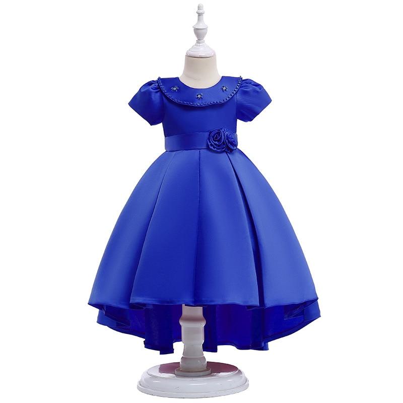 Envío Gratis, alta calidad, último diseño original, vestidos de flores para niñas, vestidos para desfile de belleza Royal Blu, vestido de cumpleaños para niñas