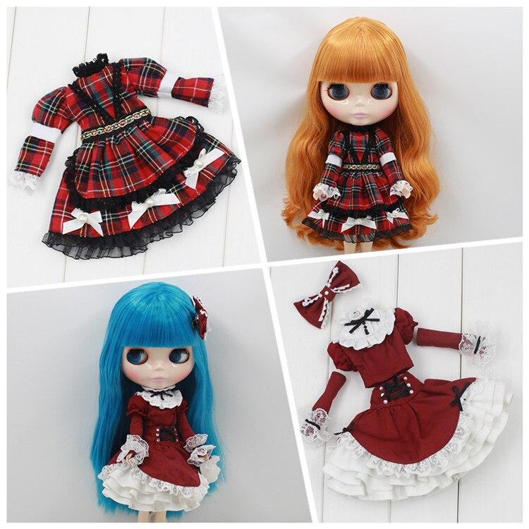 Roupa para bonecas xadrez saia para blyth licca chloe bonecas blyth boneca vestido roupas blyth roupas