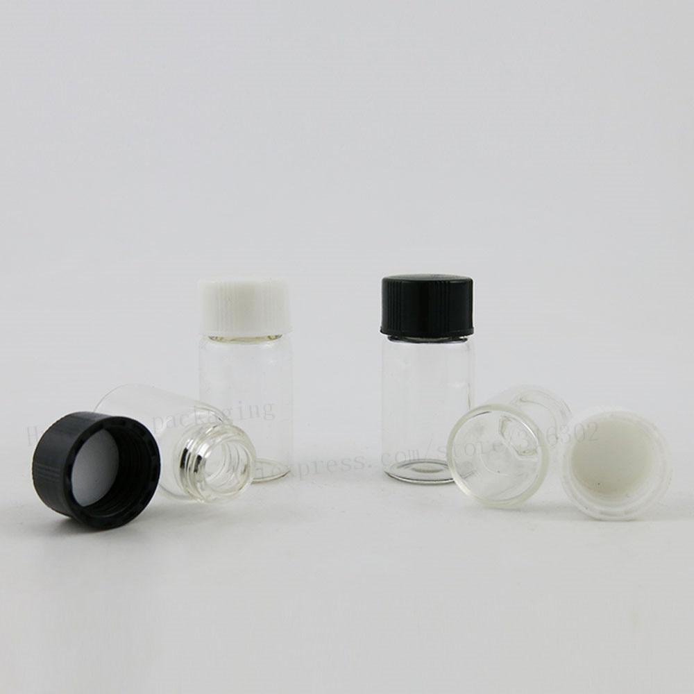 100 x 3ml Clear Empty Mini Glass Bottle with Plastic Lids 1/10oz Mini Glass Vials 3cc Screw Neck Sample Vials With Black Cap