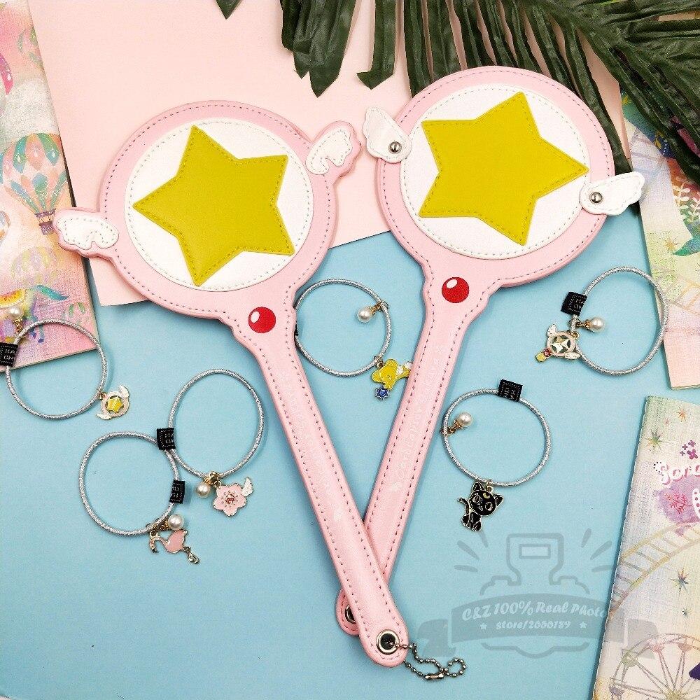 Limitada regalo Sakura Cardcaptor mágico varita Pu tarjeta caso titular de la tarjeta Bus Rosa Super estrella Kawai diadema regalo creativo juguete