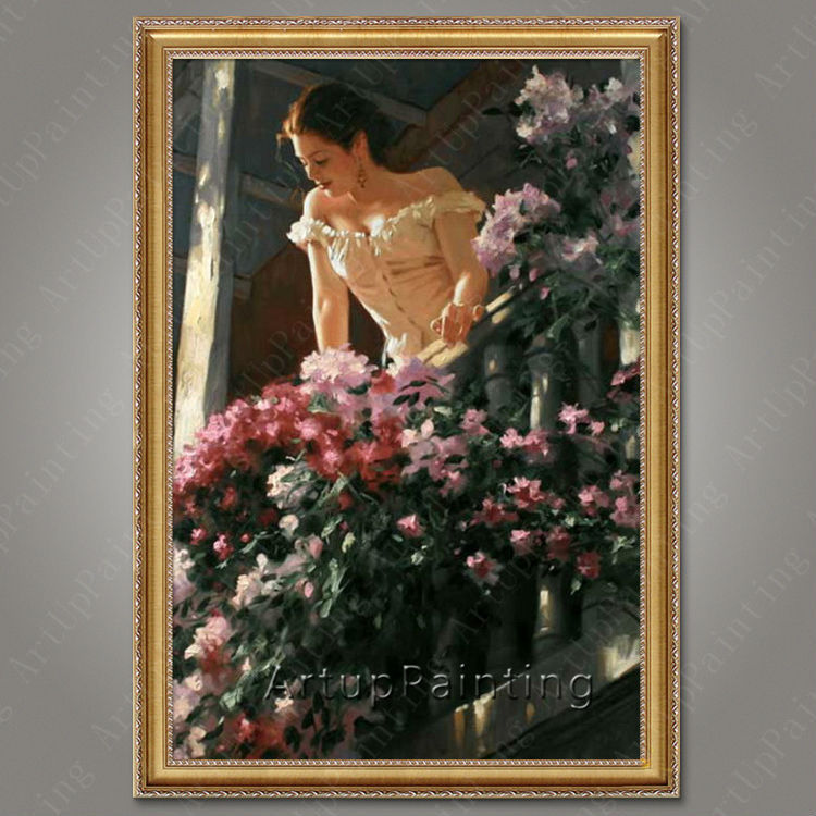 Pintura al óleo bailaora de flamenco española para mujer latina, pintura al óleo sobre lienzo de alta calidad pintada a mano latina 32