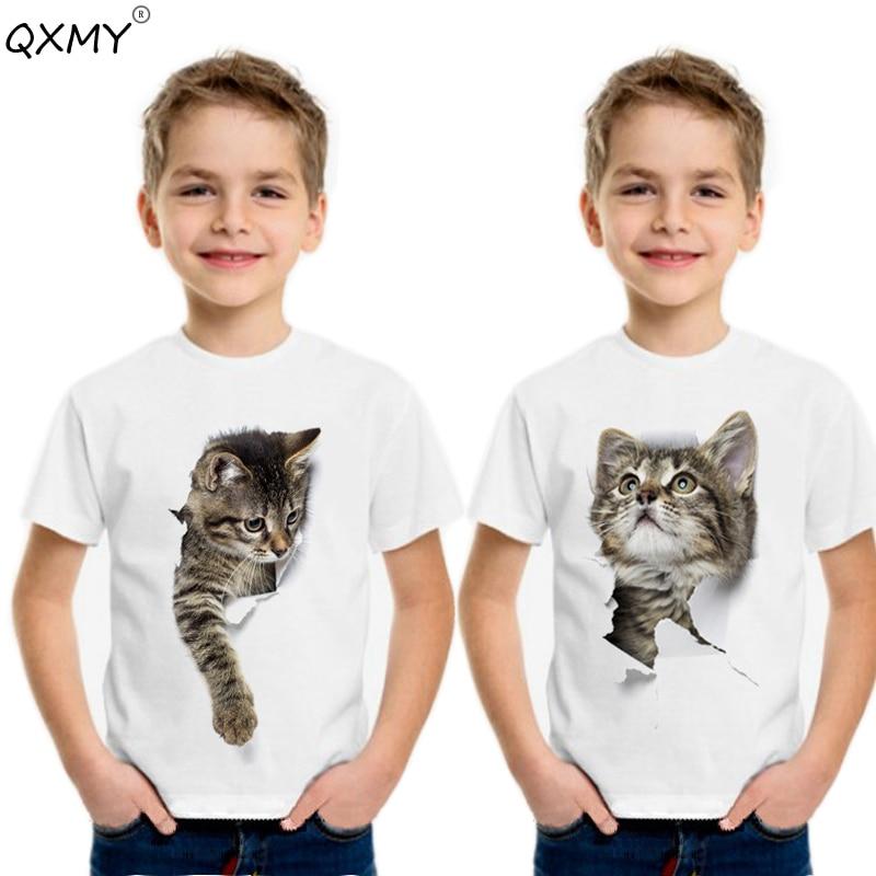 Camiseta de manga corta con estampado de gato en 3D para niños y adolescentes, camisetas blancas de 3 a 10 para verano