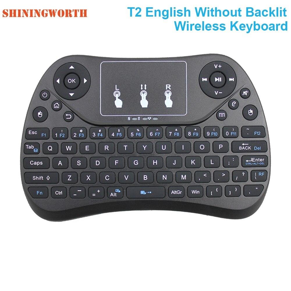 Mini teclado inalámbrico de luz de fondo de 7 colores T2 Control remoto Fly Air Mouse Touchpad plano mejor que i8 MX3 para Mac mini PC Linux